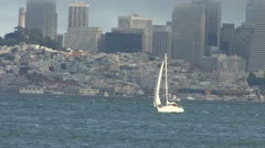 San Francisco Bay Sail Boat with Downtown SF 2 Stock Footage