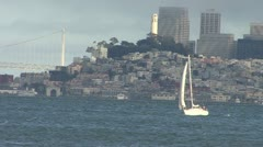 San Francisco Bay Sail Boat with Downtown SF 3 Stock Footage