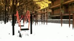 Snowy Suburb 21 playground stylized Stock Footage