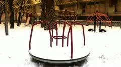 Snowy Suburb 23 playground stylized Stock Footage