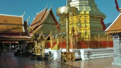 Thailand, Chiang Mai, Golden chedi, Wat Phrathat Doi Suthep Temple Stock Footage