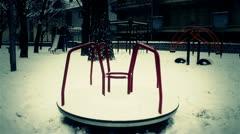 Snowy Suburb 25 playground stylized scary Stock Footage
