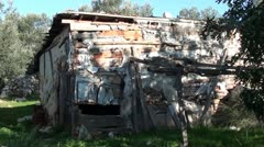 Wrecking house in forest Stock Footage