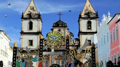 Historical church, Pelourinho, Brazil Stock Footage