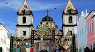 Stock Video Footage of Historical church, Pelourinho, Brazil