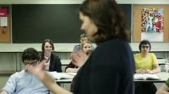 Student raising hand Stock Footage