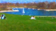 Living Oil Painting of Forest Park at Art Museum in St. Louis HD Stock Footage