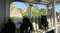 Scuba diving boat deck equipment Stock Footage