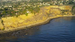 Aerial view of cliff top homes, USA Stock Footage