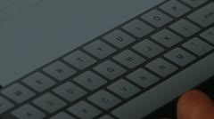 Typing on Virtual Touchscreen Keyboard. Stock Footage