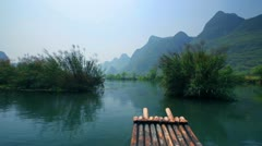 Yangshuo, China - bamboo rafting XI Stock Footage
