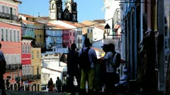Historical centre, Pelourinho, Salvador, Brazil Stock Footage