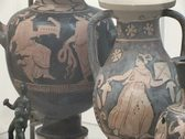 Ancient archaeological greek remains in museum Stock Footage