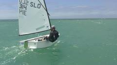Young sailor racing Stock Footage