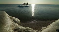 Peaceful Winter Seascape Stock Footage