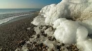 Icy Coast With Seashell Stock Footage