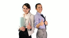 Successful businesswomen showing thumbs up, ok sign, isolated HD - stock footage