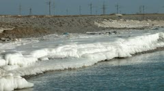 Icy Shore Of The Sea Stock Footage
