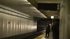 San Francisco Workday BART Trains Stop Unload  2 - stock footage