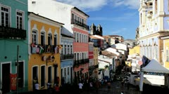 People visiting the Historical centre Pelourinho, Brazil Stock Footage