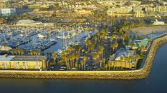 Aerial view of modern boat marina, USA Stock Footage