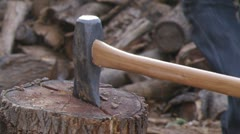 Chop Wood With Axe Stock Footage