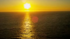 Aerial view of golden glow from setting sun, USA Stock Footage
