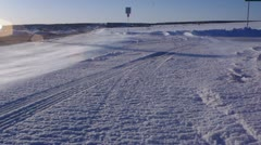 Cold Snow Ice windy Road - stock footage