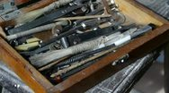 Get tools from old toolbox.artisans,technicians. Stock Footage