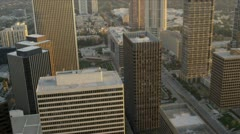 Aerial view of helipads, skyscrapers, Los Angeles, USA - stock footage