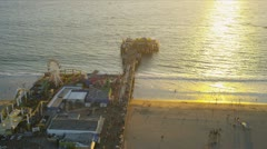 Aerial view of the Santa Monica Pier, Los Angeles, USA Stock Footage