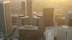 Aerial sunset city view of financial buildings, LA, USA Stock Footage