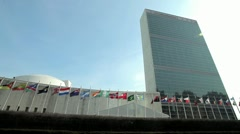 UN United Nations NY New York headquater tilt down 1080 24p Stock Footage
