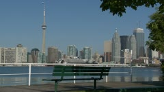 Tranquil Toronto Harbor Skyline Stock Footage