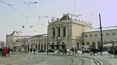 Building of railway station in Zagreb Stock Footage