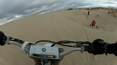 Quad and Dirt Bike sand trail follow HD Stock Footage