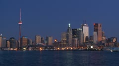 Toronto Harbor Skyline at Night Stock Footage