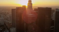 Aerial sunset view city skyscrapers Los Angeles, USA Stock Footage