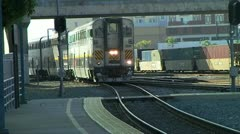 SF to Fresno Train Pulls into Emeryville CA station Stock Footage