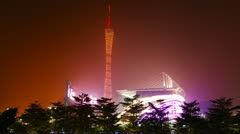 Guangzhou TV Tower At Night 4K Stock Footage
