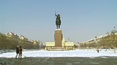 Monument of king Tomislav Stock Footage