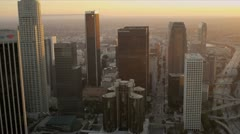 Aerial sunset view of financial buildings, LA, USA Stock Footage