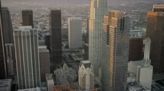 Aerial view of downtown city skyscrapers, LA, USA Stock Footage