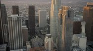 Stock Video Footage of Aerial view of downtown city skyscrapers, LA, USA