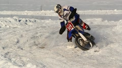 Winter motocross crash slow motion Stock Footage