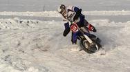 Winter motocross crash slow motion Stock Footage