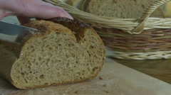 Slicing Rye Bread 01 Stock Footage