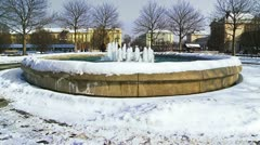 Fountain on Ante Starcevic square in Zagreb Stock Footage
