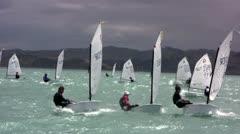 Young sailors racing - stock footage