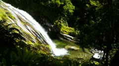 High mountain waterfall on the Milford Track Stock Footage